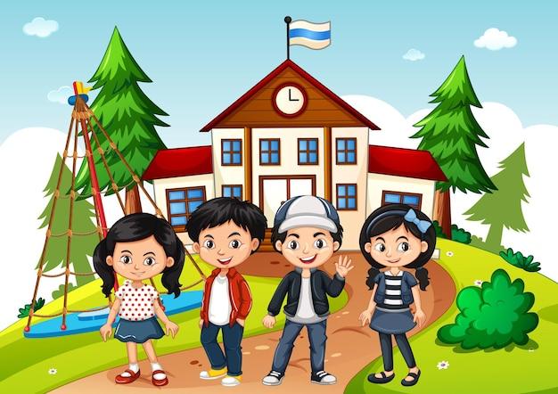 Children in the school scene Premium Vector