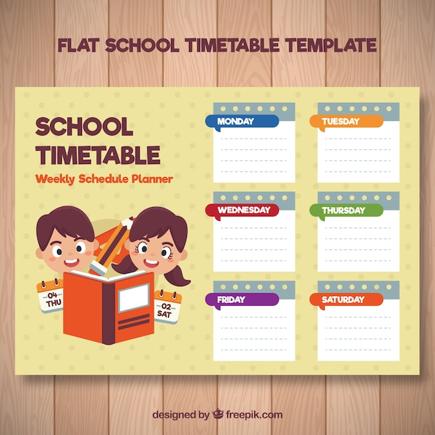 Children school timetable with books