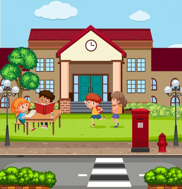 Children at the school Premium Vector
