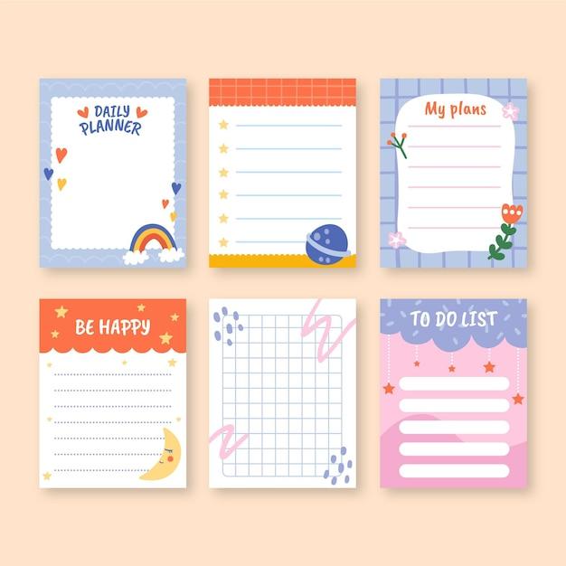Детские записки и шаблоны заметок Бесплатные векторы