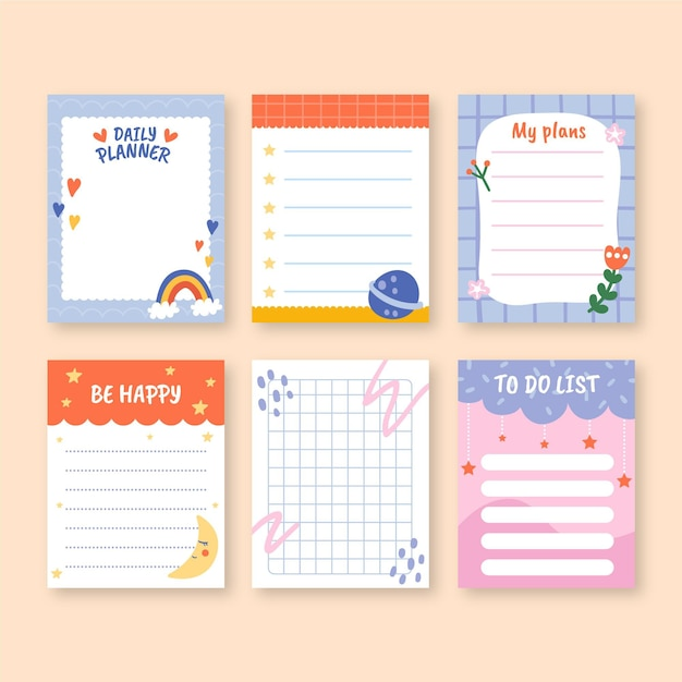 Children scrapbook and notes templates Free Vector
