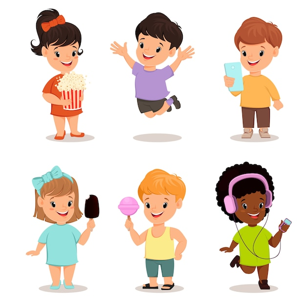 Children set. cute kids Premium Vector