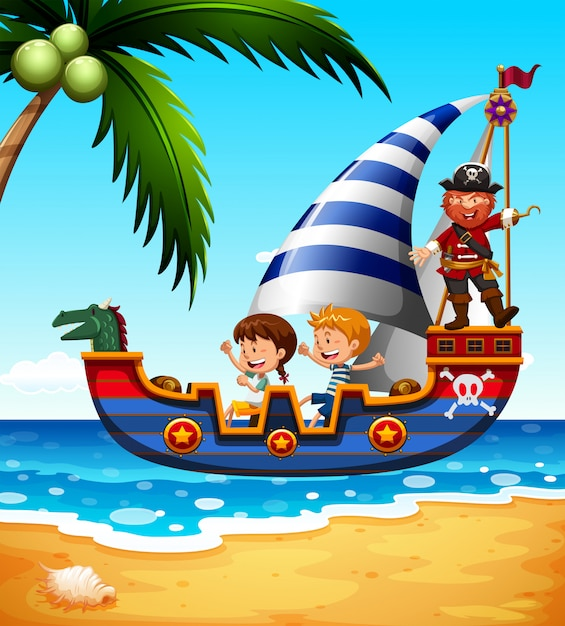 Children on the ship with pirate Free Vector