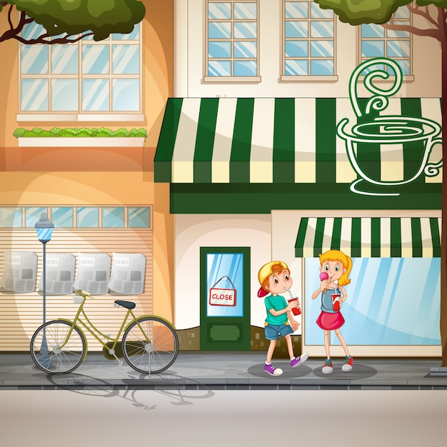 Children and shops Free Vector
