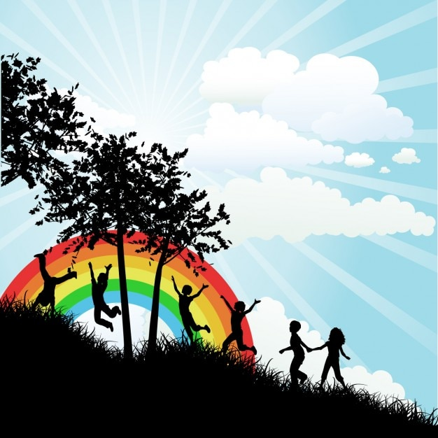 Children silhouette and rainbow background vector free download - Children s day images download ...
