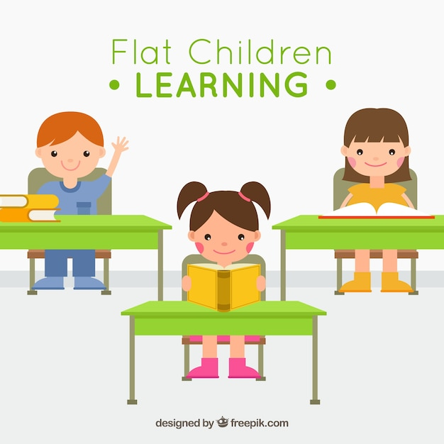 Children sitting at school Free Vector