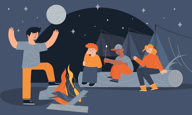 Children sitting near a campfire and tents eating marshmallow and telling scary stories at night. Premium Vector