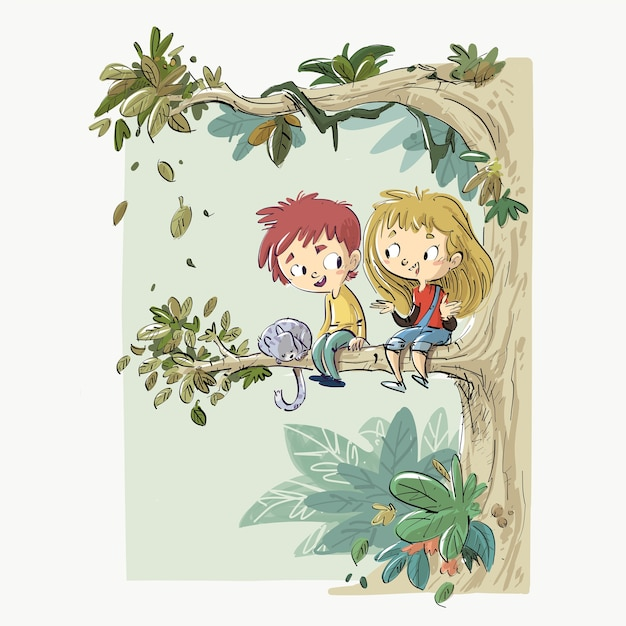 Children sitting in a tree with a cat Premium Vector