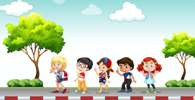Children standing on the pavement Free Vector