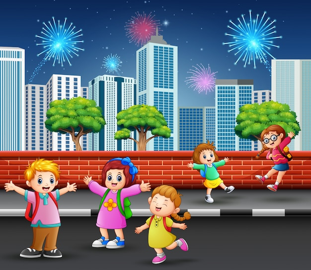 Children on the street sidewalk with cityscape and firework Premium Vector