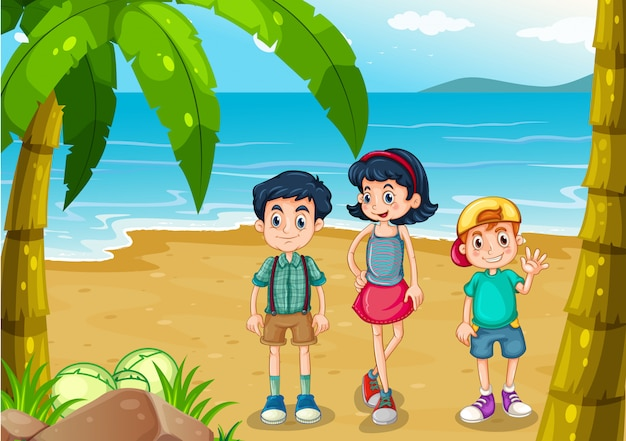Children strolling at the beach Free Vector