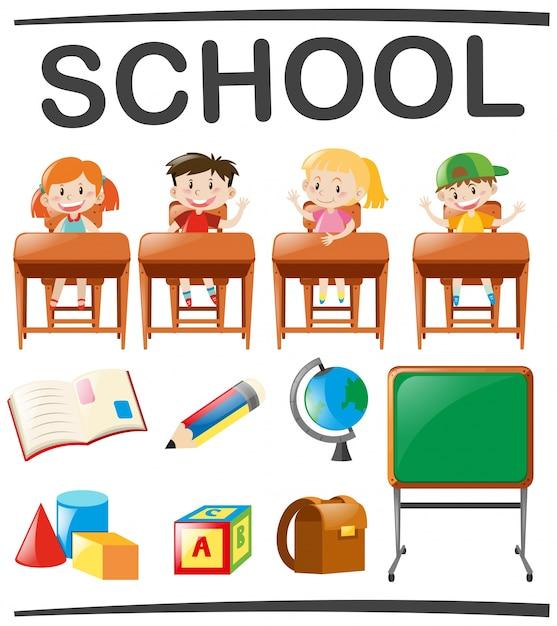 Изучение детей и школьные объекты Бесплатные векторы