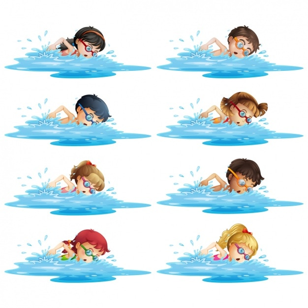 Children swimming Premium Vector