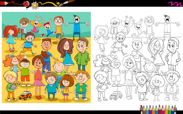 Children and teens characters color book Premium Vector