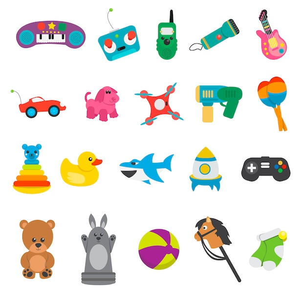 Children toy collection Free Vector