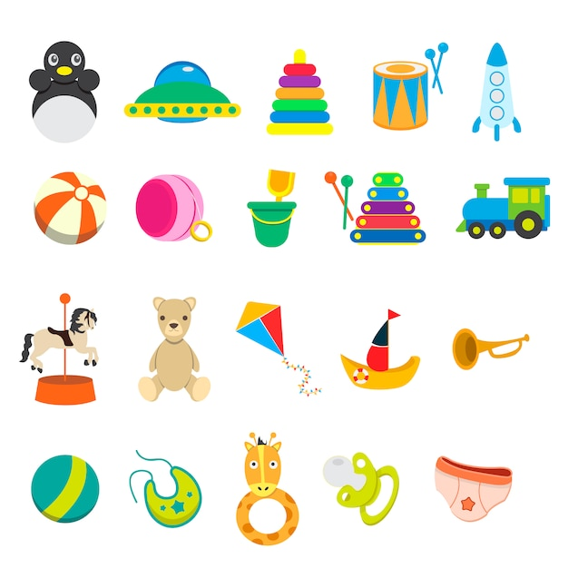 children toy icon collection vector free download