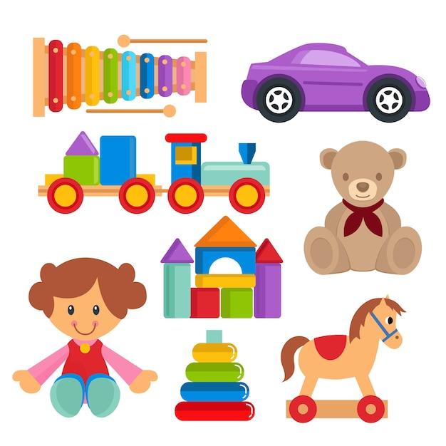 Children toy set vector object Premium Vector