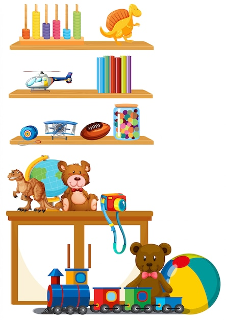 Children toy on the shelf Free Vector