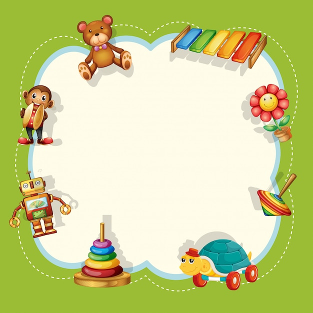 A children toys frame Free Vector