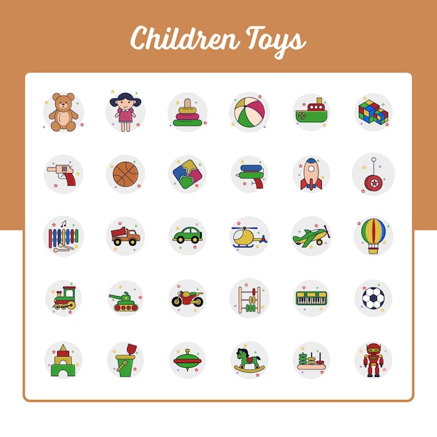 Children toys icons set with outline filled style Premium Vector
