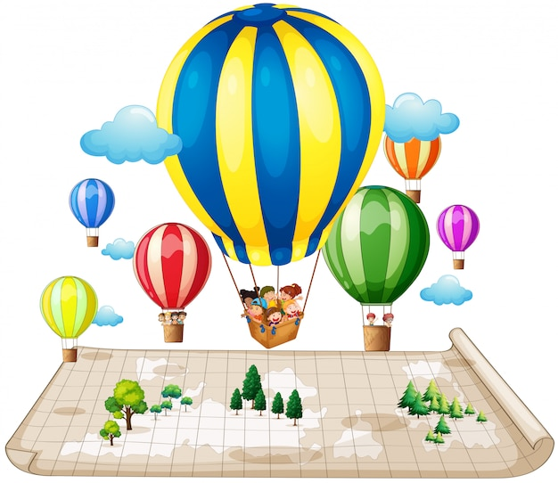 Children traveling by balloon Free Vector
