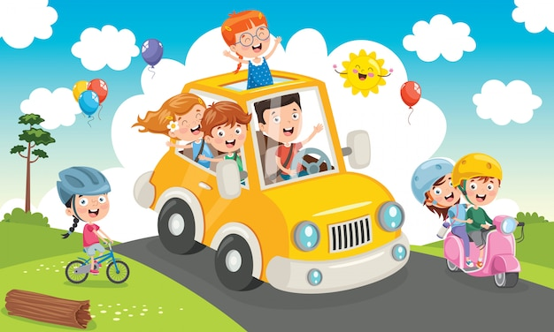 Children travelling with a funny car Premium Vector