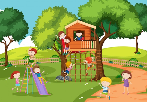 Children at the treehouse Free Vector