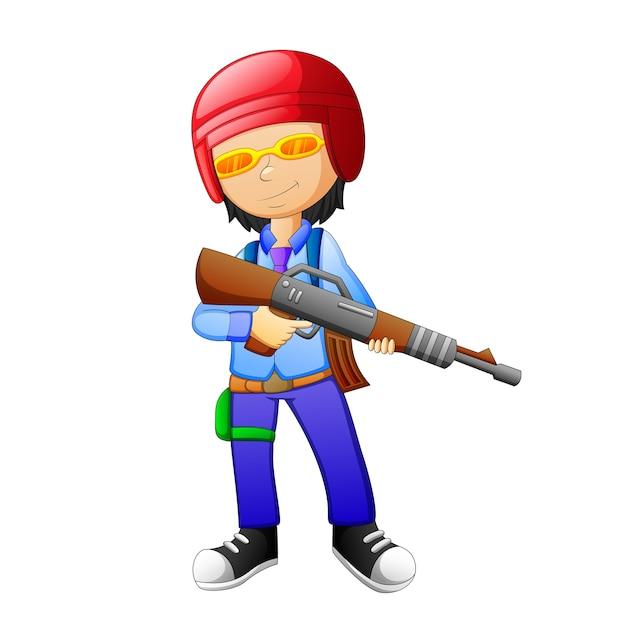 Children use weapons cartoon Premium Vector