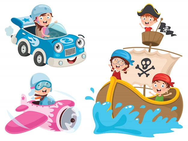 Children using car, pirate ship and plane Premium Vector