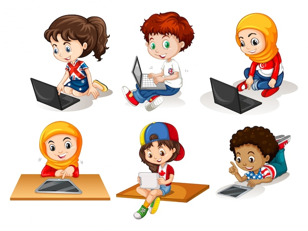 Children using computer and tablet\ illustration