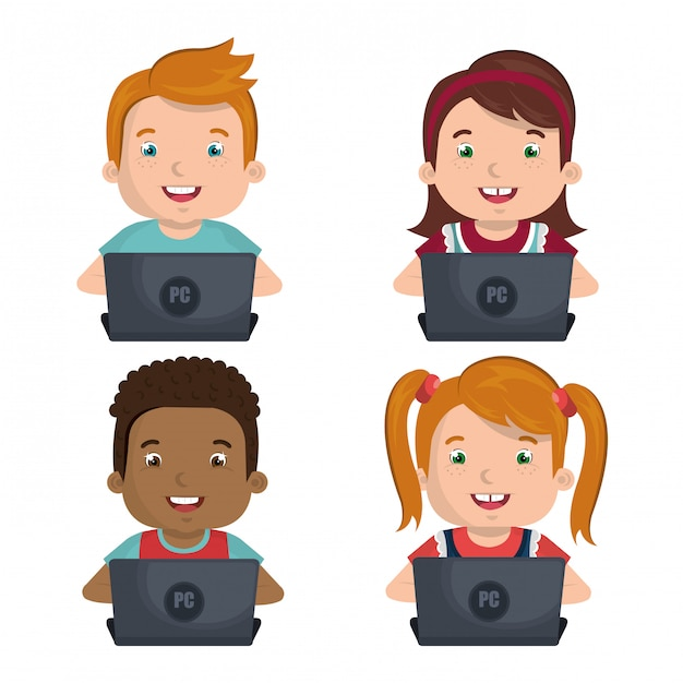 Children using computers Free Vector