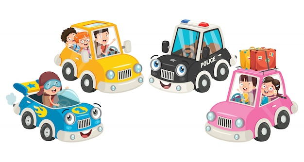 Children using various colorful cars Premium Vector