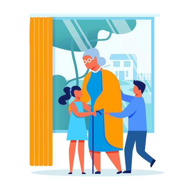 Children visit grandmother vector illustration Premium Vector