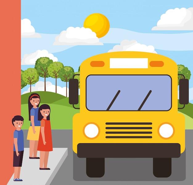 Children waiting school bus Premium Vector