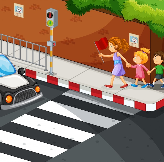 Children walking on the pavement Free Vector