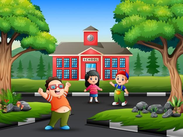 The children walking on the road Premium Vector
