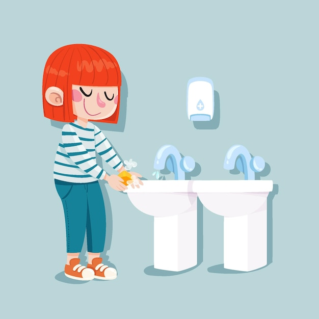 Дети моют руки в школе Бесплатные векторы