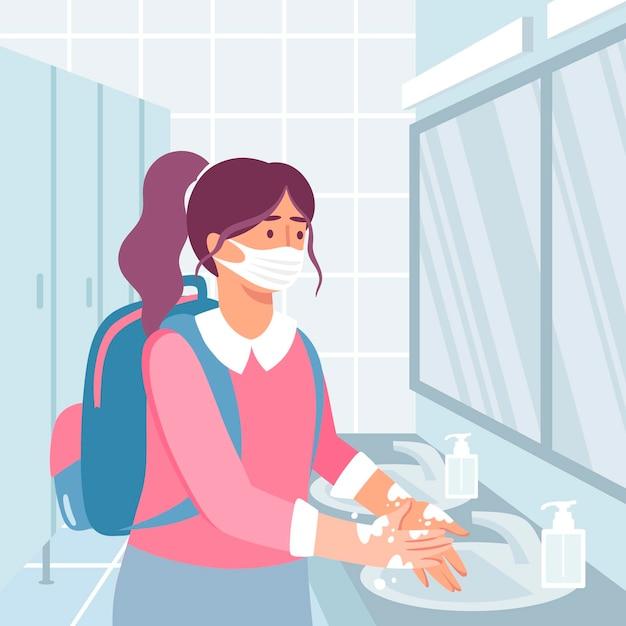 学校で手を洗う子供たち 無料ベクター
