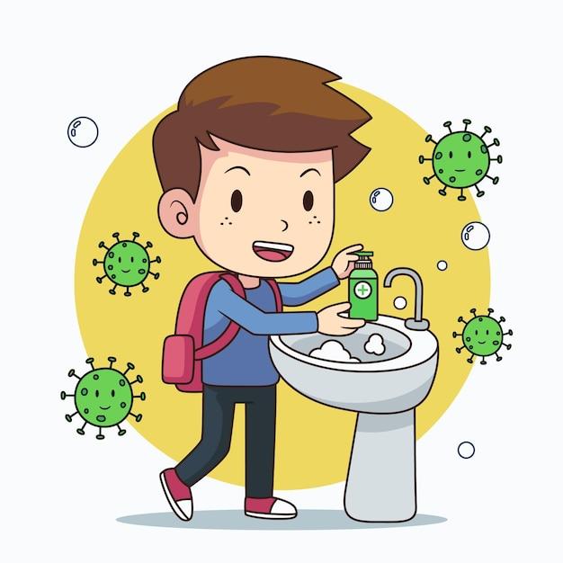 Children washing their hands at school Premium Vector