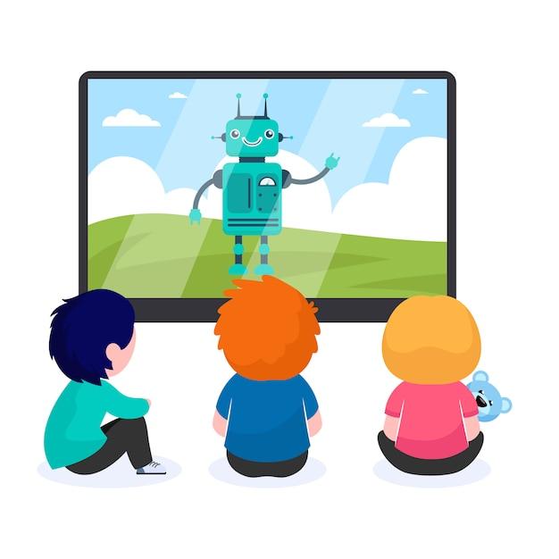 Bambini che guardano cartoni animati con robot Vettore gratuito