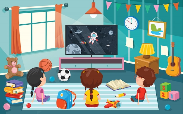 Children watching television in  a room Premium Vector