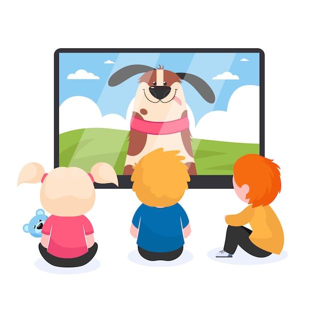 テレビを見ている子供 無料ベクター