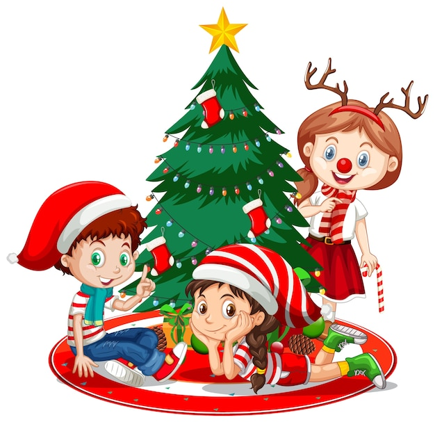 Children wear christmas costume cartoon character with christmas tree Free Vector