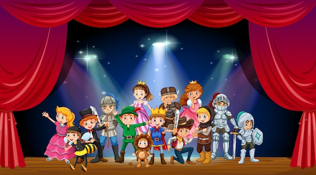Children wearing costume on stage illustration Free Vector