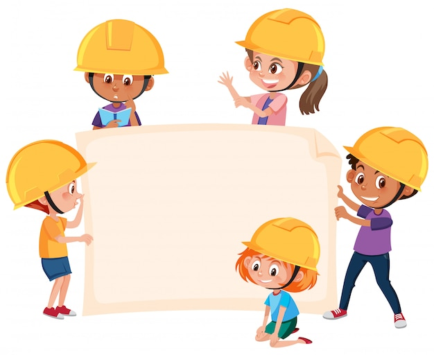Children wearing engineer hat banner Premium Vector