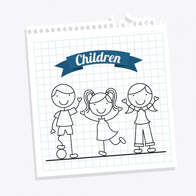 Children over white background Free Vector