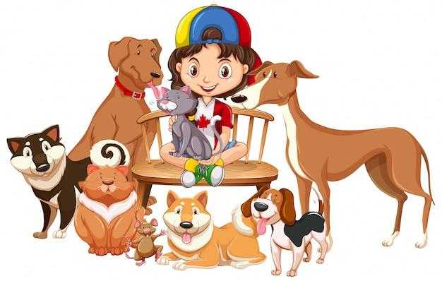 Children with animals on isolated background Premium Vector