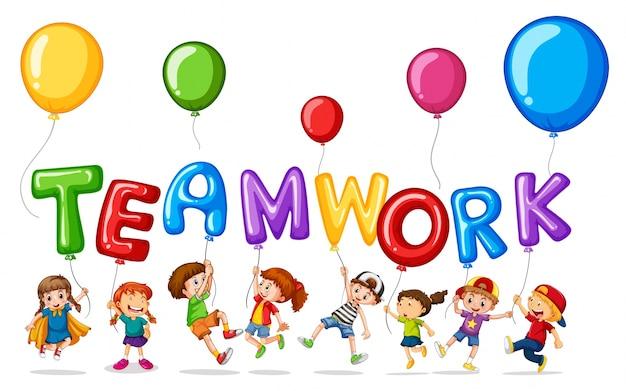Premium Vector | Children with balloons for word teamwork