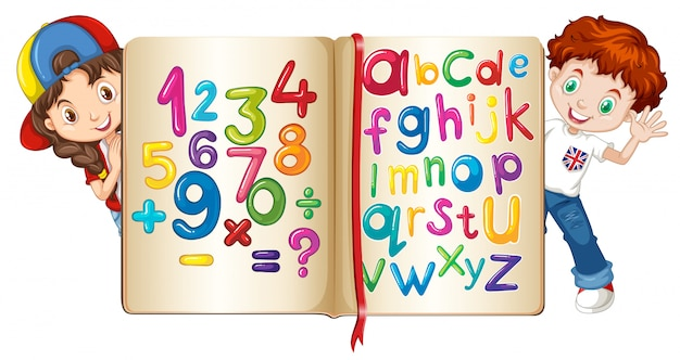 Children with book of numbers and alphabets Free Vector