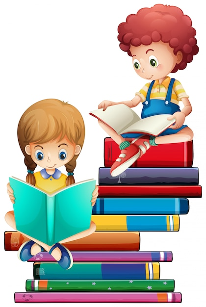 Children with books on white background | Premium Vector